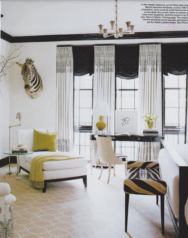 GetTheLook Black White ANIMALIZED Bedroom Elle Decor 2007 Burke De